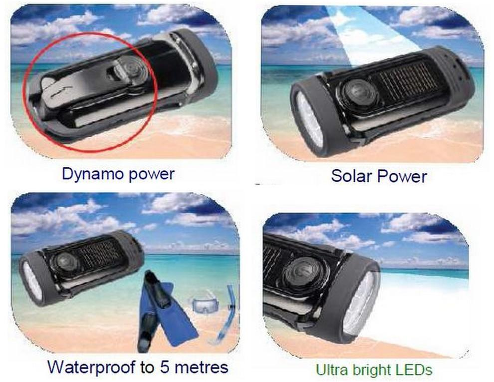 POWERplus Barracuda Waterproof Wind-Up and Solar PoweredLED Flash Light