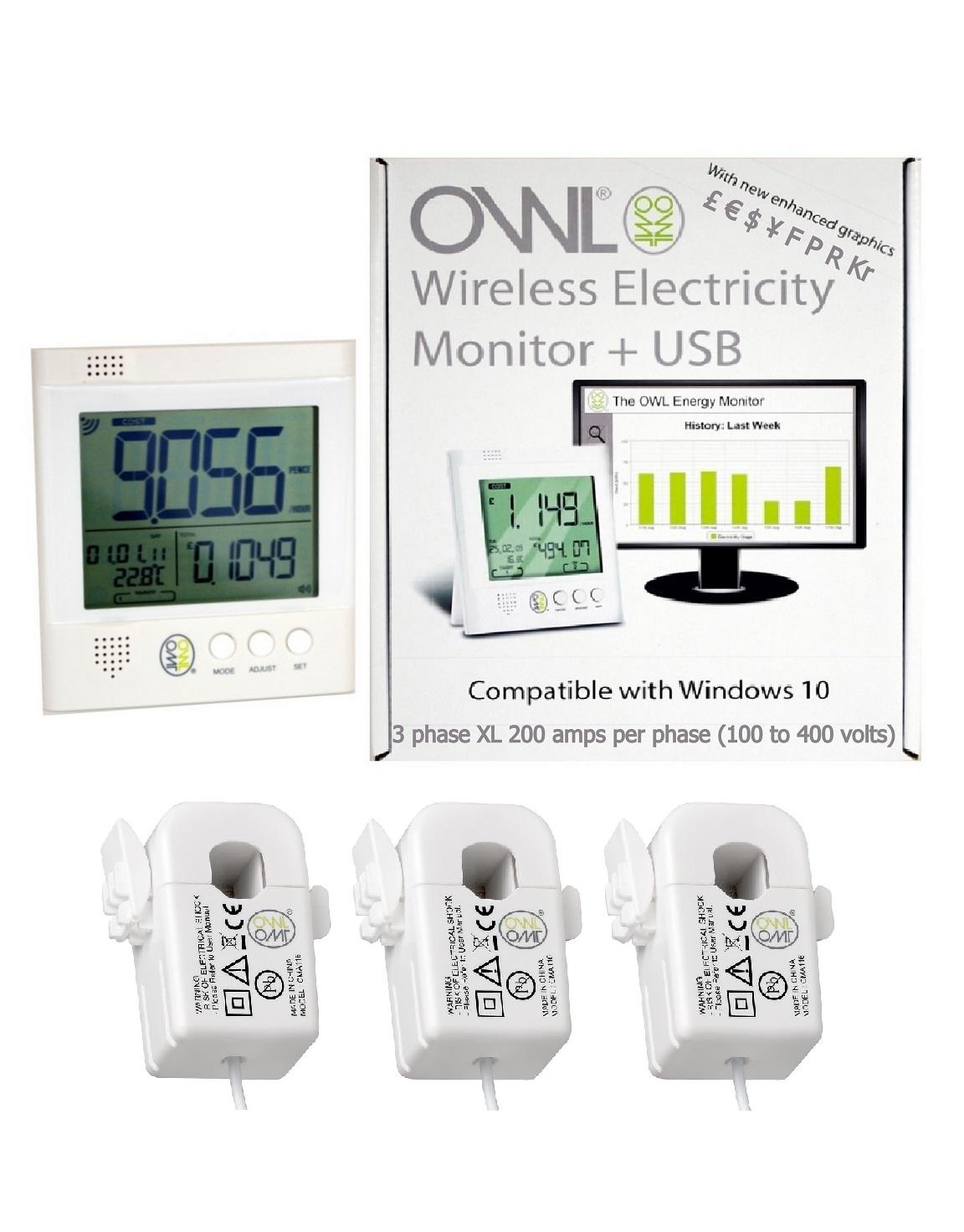 OWL Wireless Electricity Monitor +USB 3 Phase XL (Max 200 Amp Per Phase 100-400v)