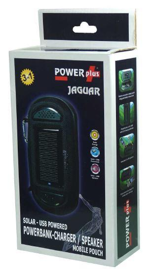 POWERplus Jaguar Solar & USB Powered Portable Speakers Powerbank and Travel Pouch