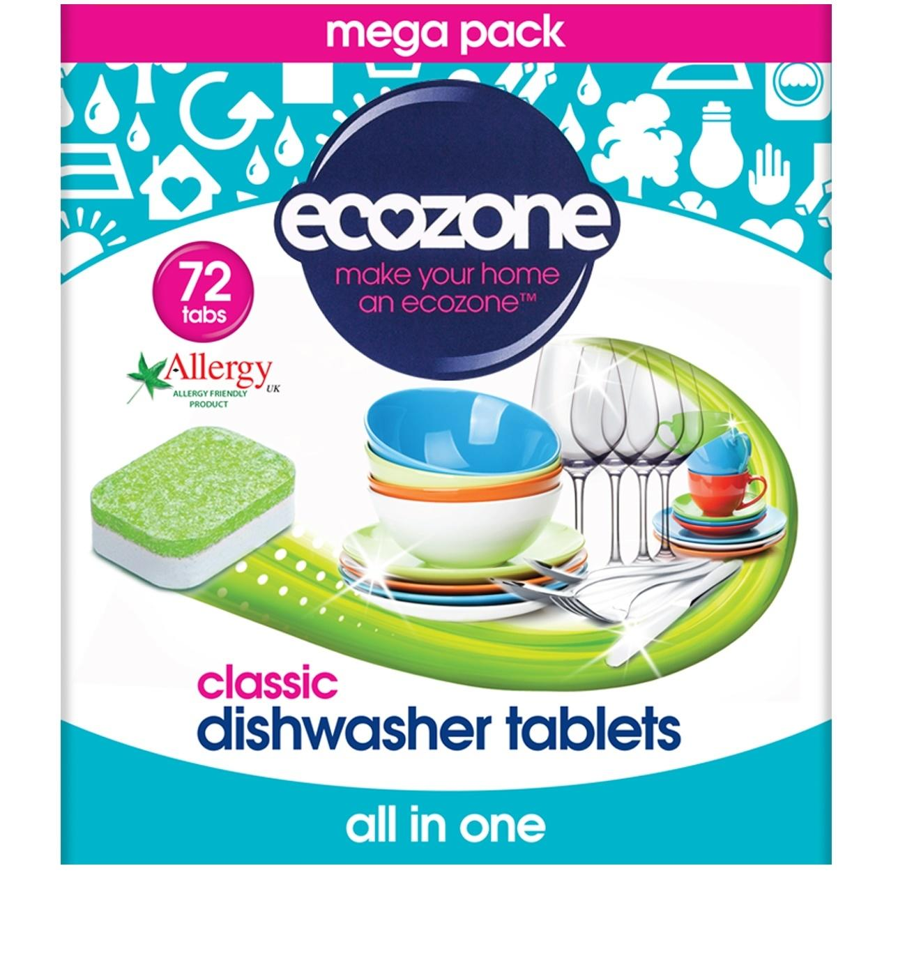 Ecozone dishwasher tablets provide sparkling results while respecting your environment. Ideal for use with Ecozone Rinse Aid. 72 tablets per pack
