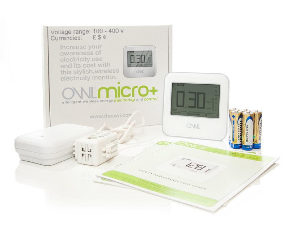 Owl Micro+ wireless home energy monitor showing box contents with standard sensor