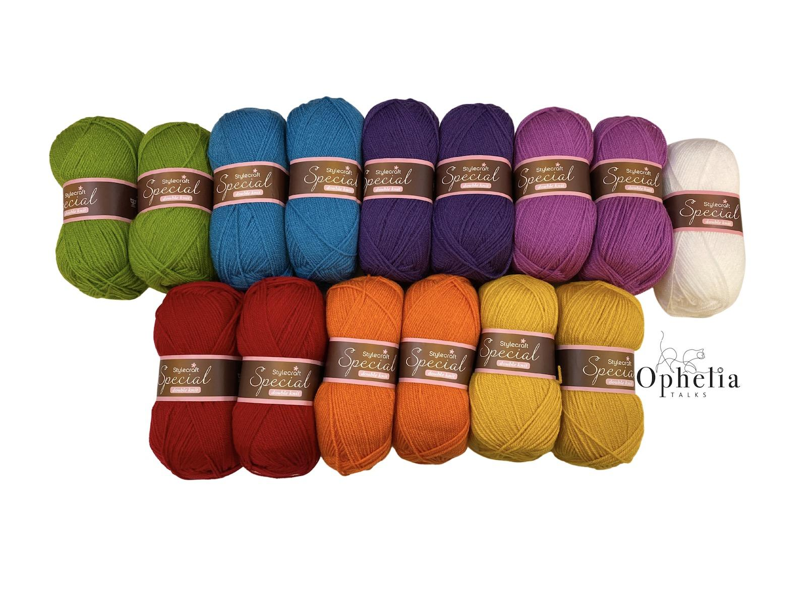 Rainbow colour yarn pack in stylecraft special dk