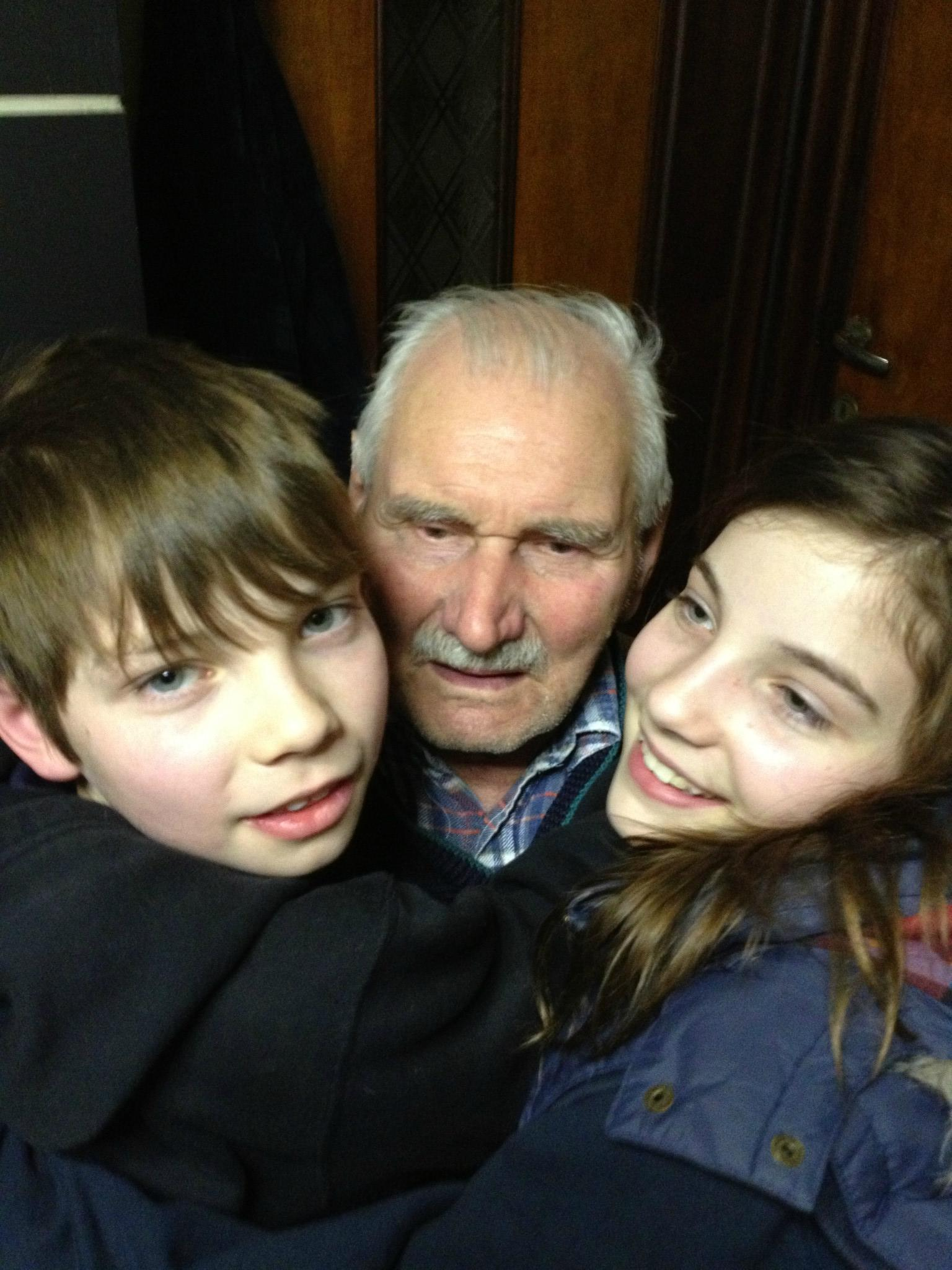 Granddad with my kids, Thomas and Rachel
