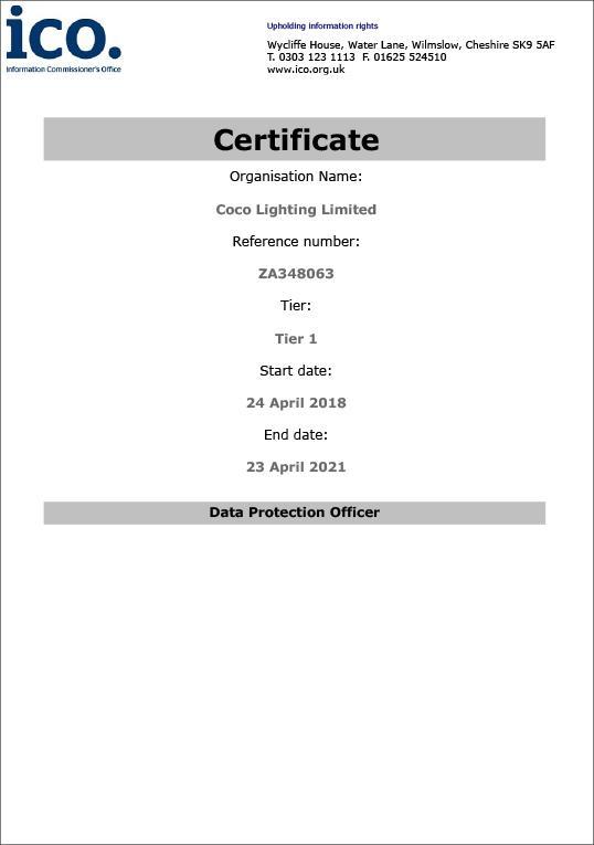 COCO Lighting ICO certification