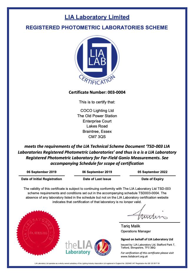 LIA Laboratory certificate