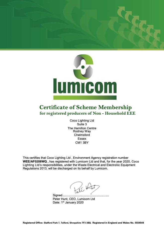 Lumicom certificate