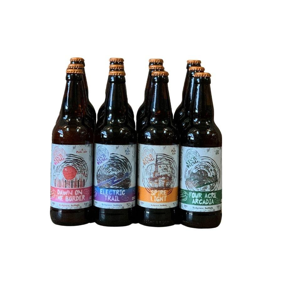 A case of 500ml bottles containing a mix of delicious Star Wing Brewery pale and hoppy beers