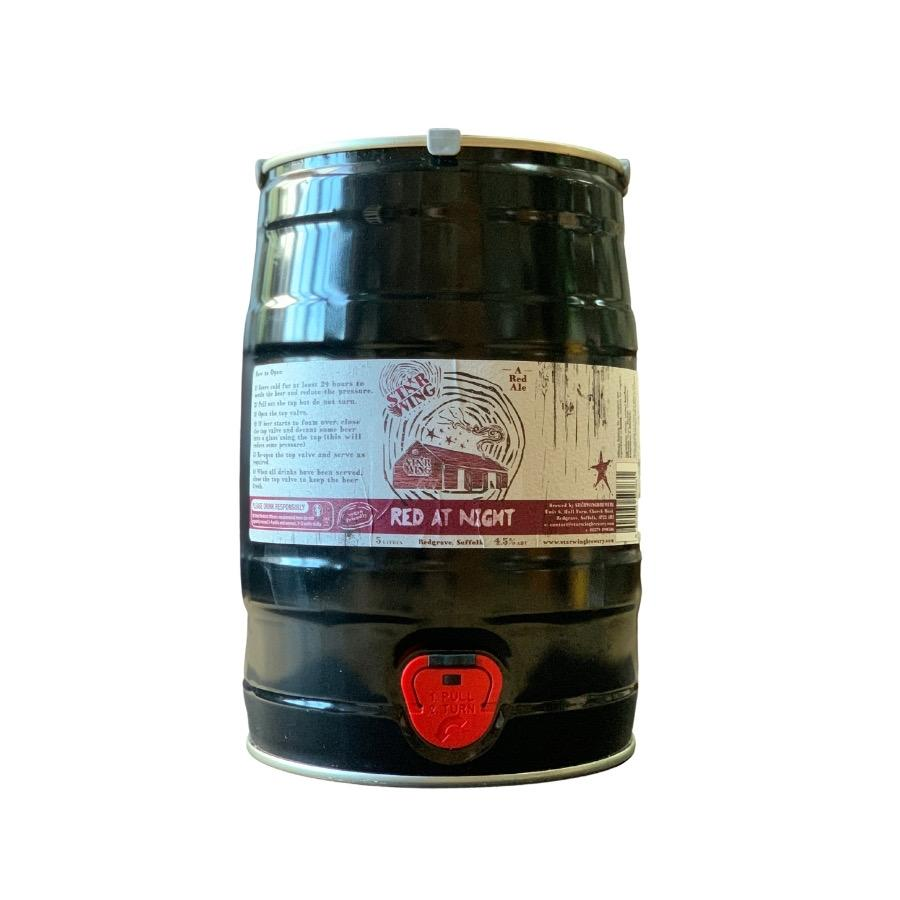 A 5L mini keg containing a mix of delicious Star Wing Brewery's Red at Night, 4.5% Red Ale
