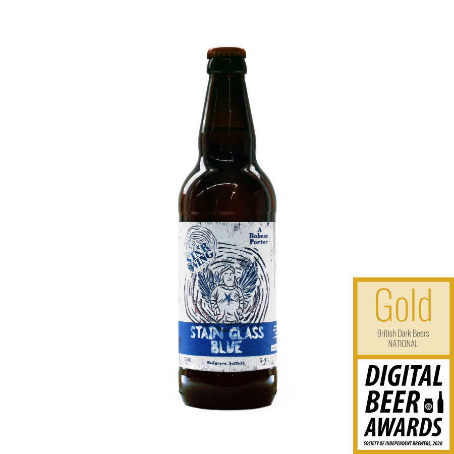 A 500ml bottle of delicious Star Wing Brewery's award-winning Stain Glass Blue, 5.4% Robust Porter