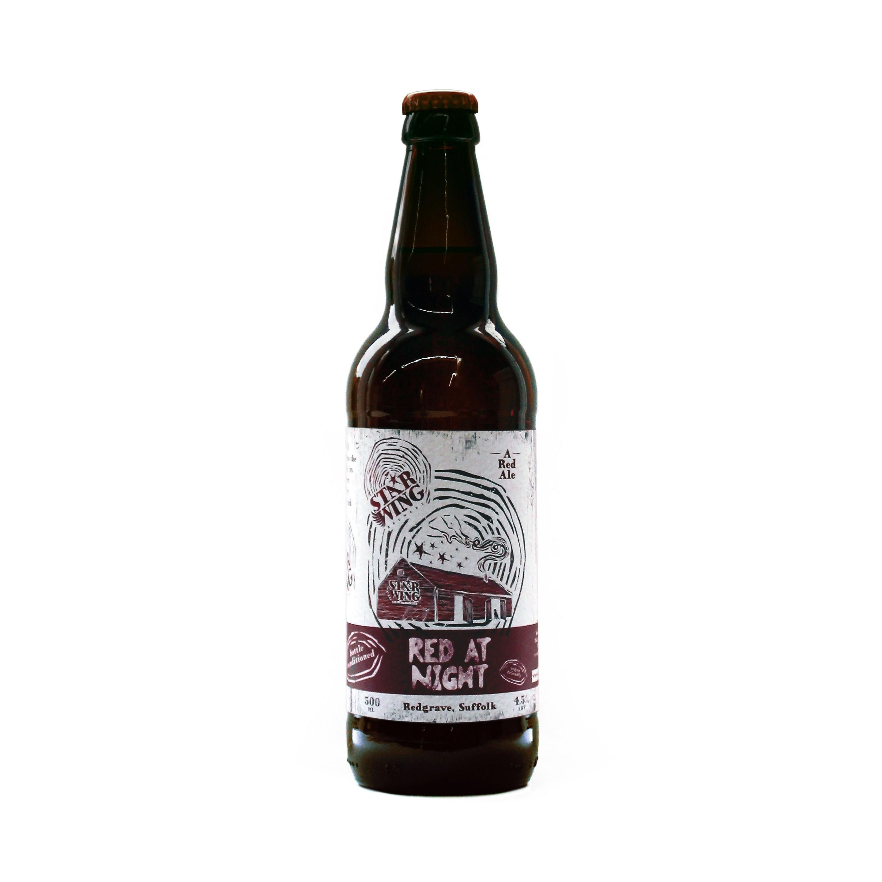 A 500ml bottle of delicious Star Wing Brewery's Red at Night, 4.5% Red Ale