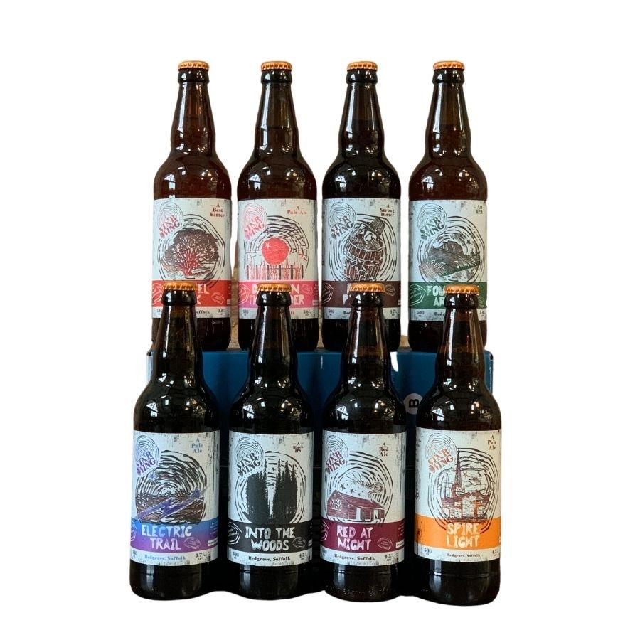 A case of bottles containing a mix of delicious Star Wing Brewery beers
