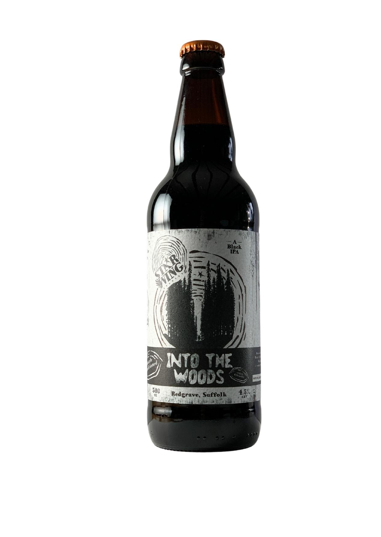 A 500ml bottle of delicious Star Wing Brewery's Into the Woods, 4.5% Black IPA