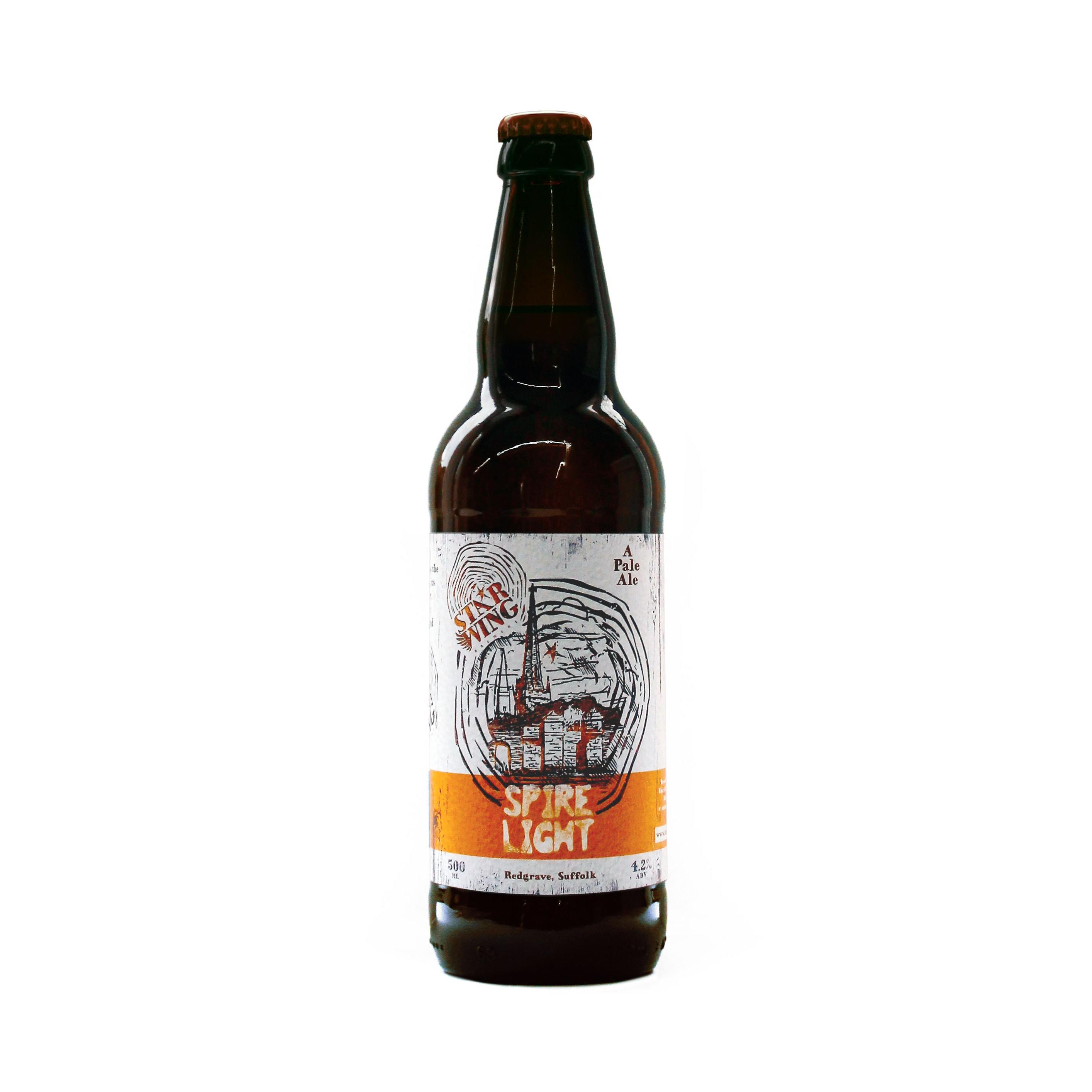 A 500ml bottle of delicious Star Wing Brewery's Spire Light, 4.2% Golden Ale
