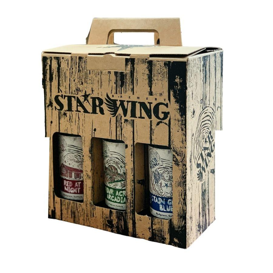 A gift box containing 6 delicious Star Wing Brewery beers