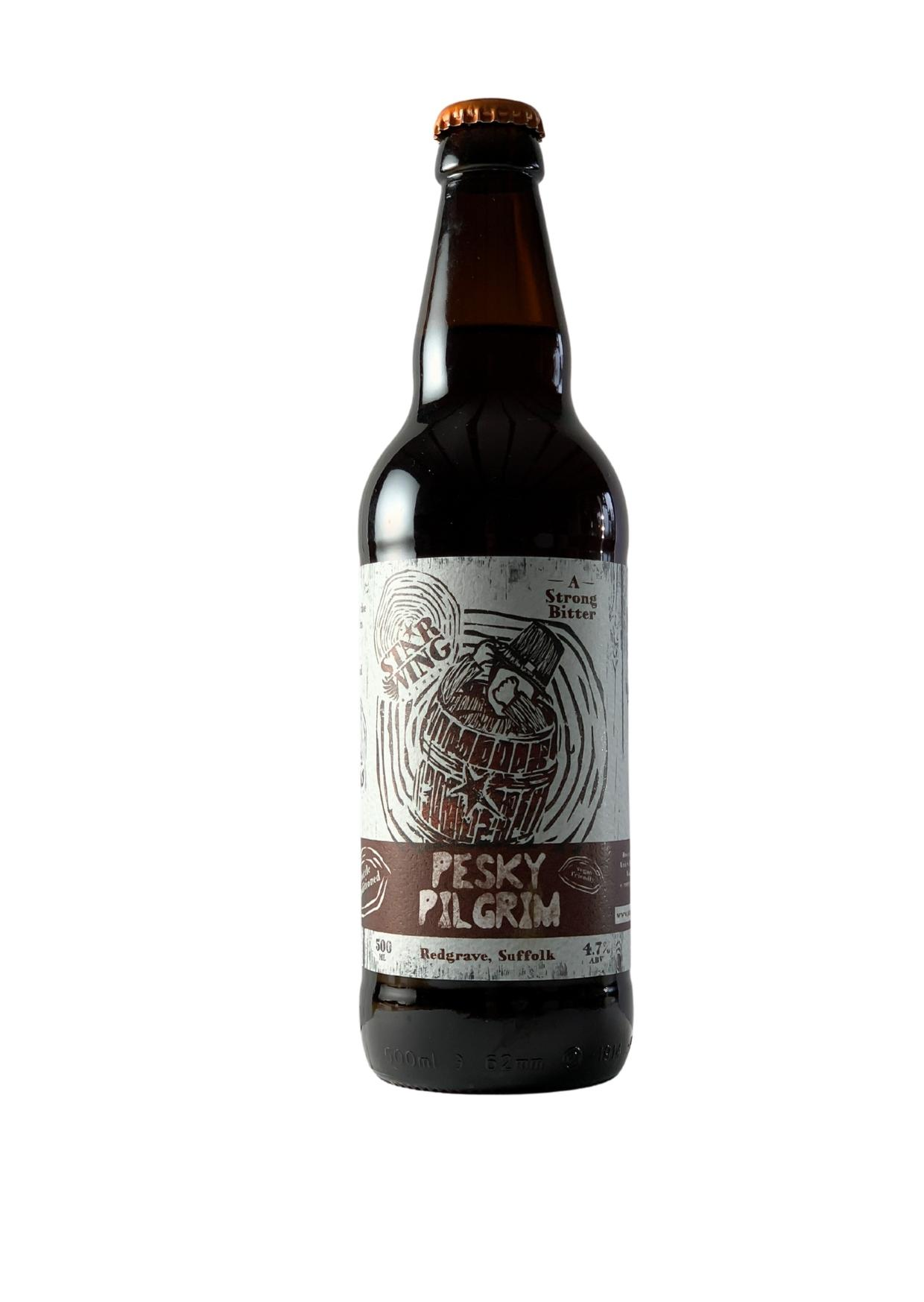 A 500ml bottle of delicious Star Wing Brewery's Pesky Pilgrim, 4.7% Strong Bitter