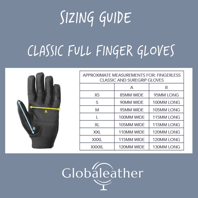 Classic Full Finger Wheelchair Gloves size Guide