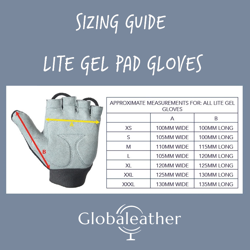 Globaleather Lite Gel Palm Wheelchair Gloves Size Guide