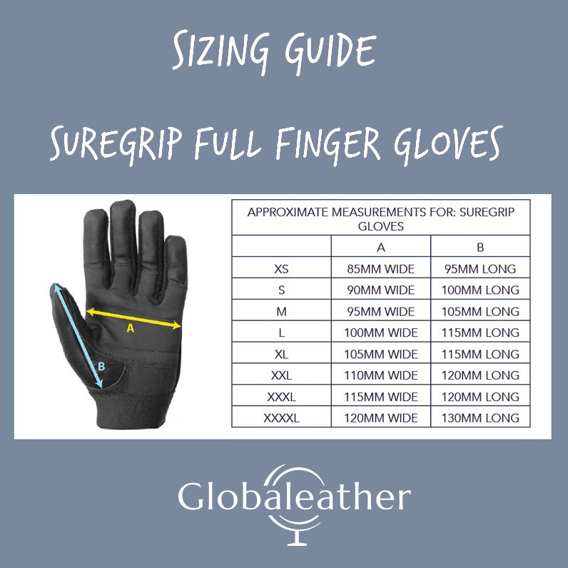 SureGrip Full Finger Wheelchair Gloves Size Guide