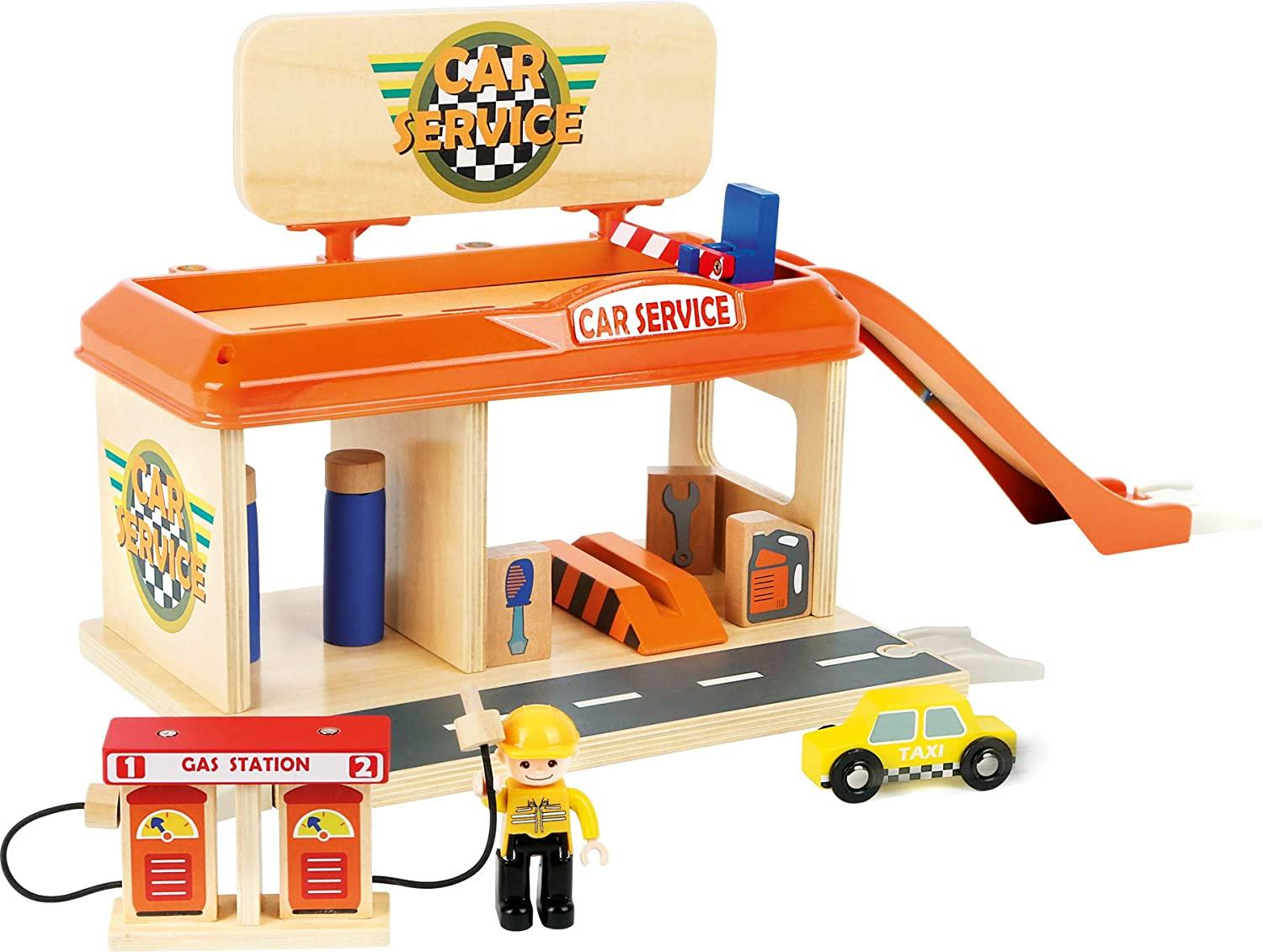 Small Foot Wooden Petrol Station Playset1