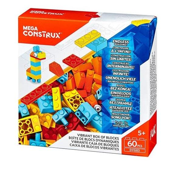 Mega Construx 60 Piece Vibrant Colours Bricks Box`