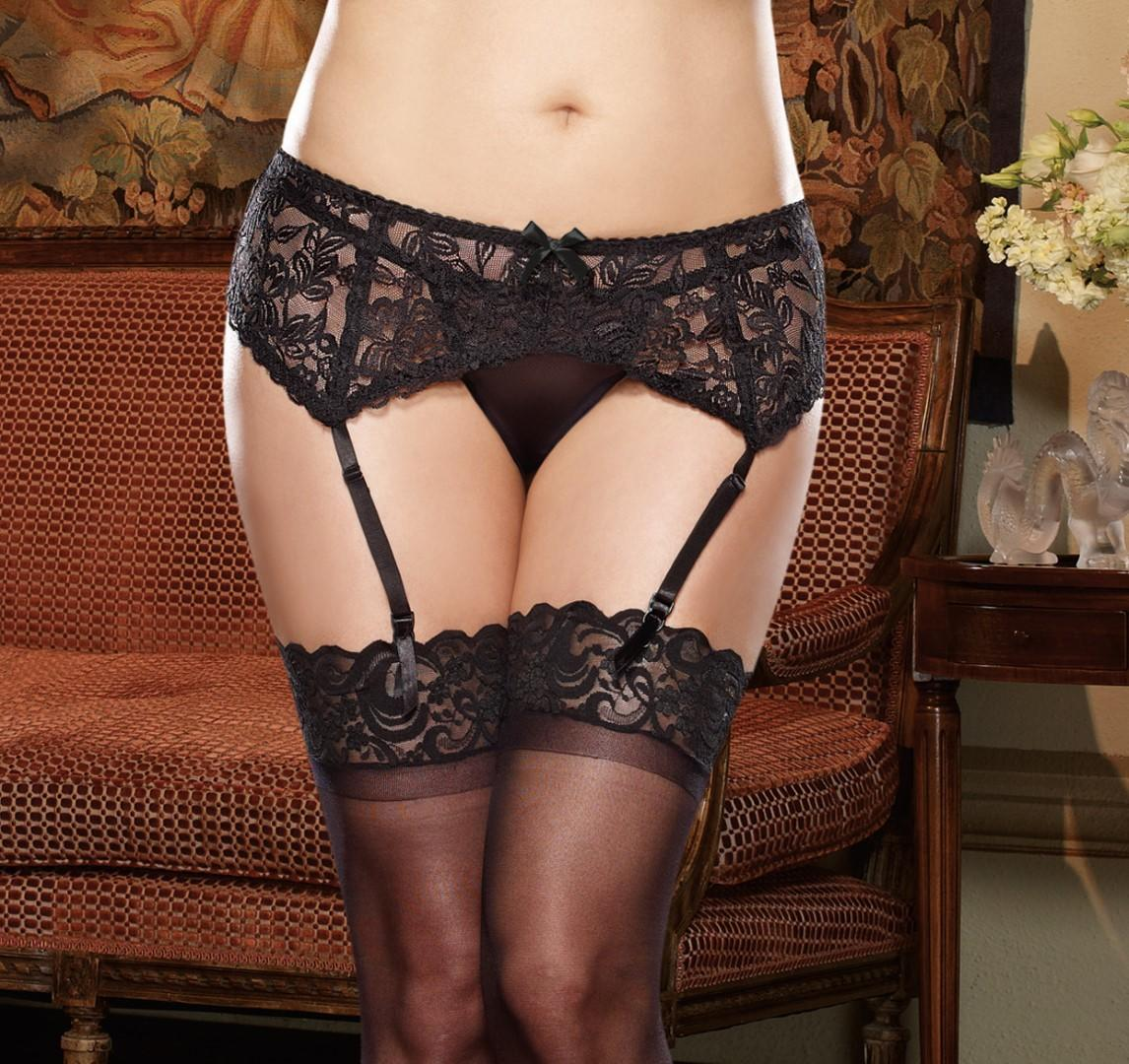 Black garter belt front view