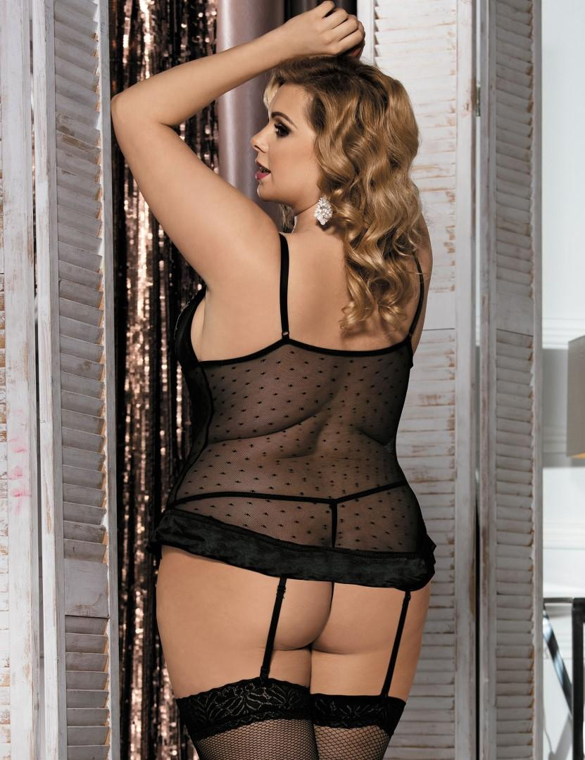 Plus size chiffon & lace Bustier rear view