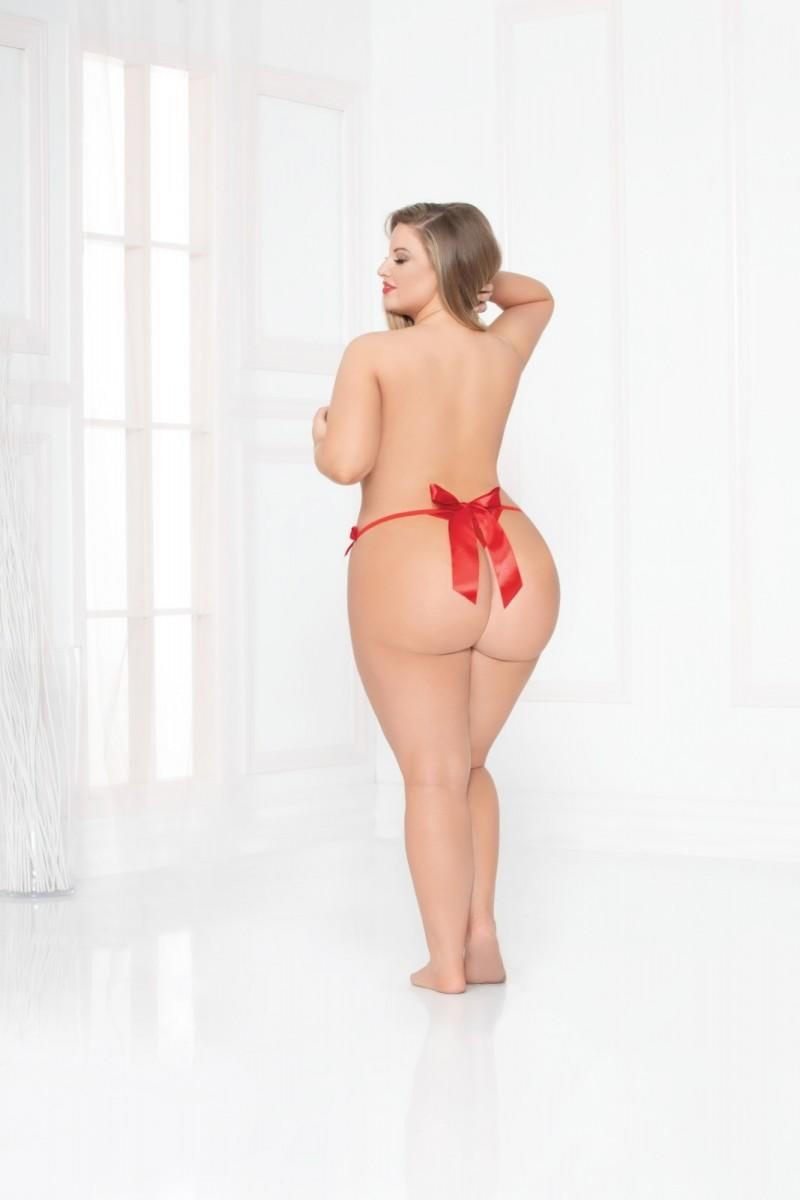 Red Open Crotch Thong rear view