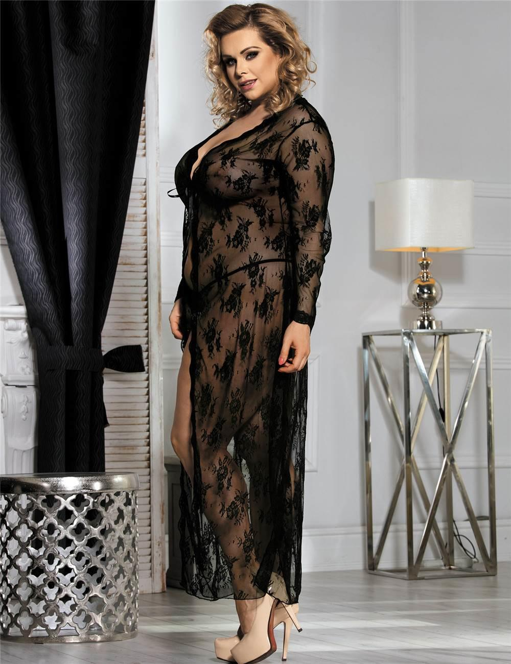 Black Lace Long Gown Set side view