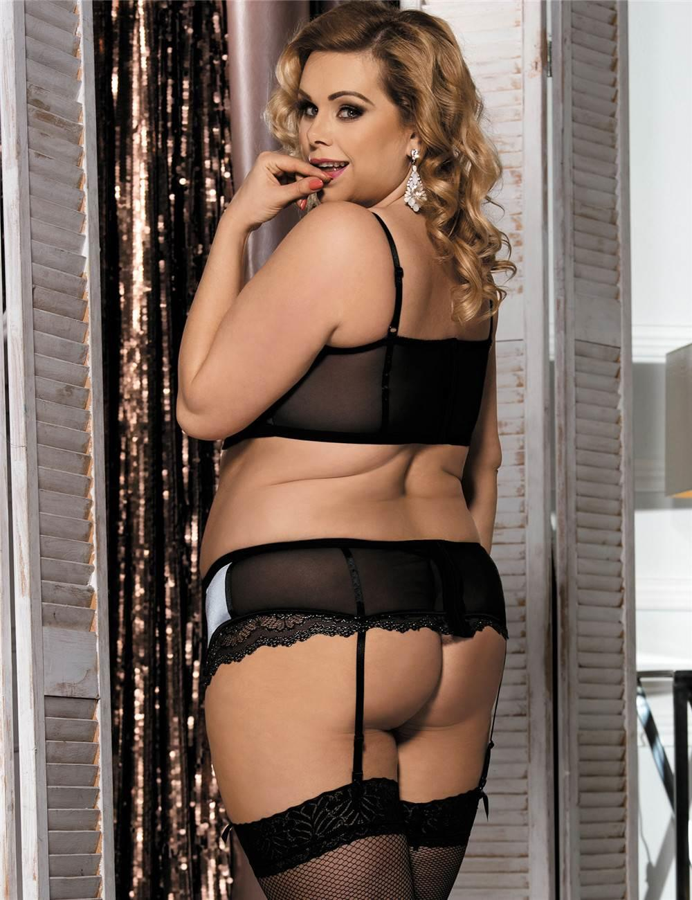 Silver Bra, Brief & Suspender Belt set rear view