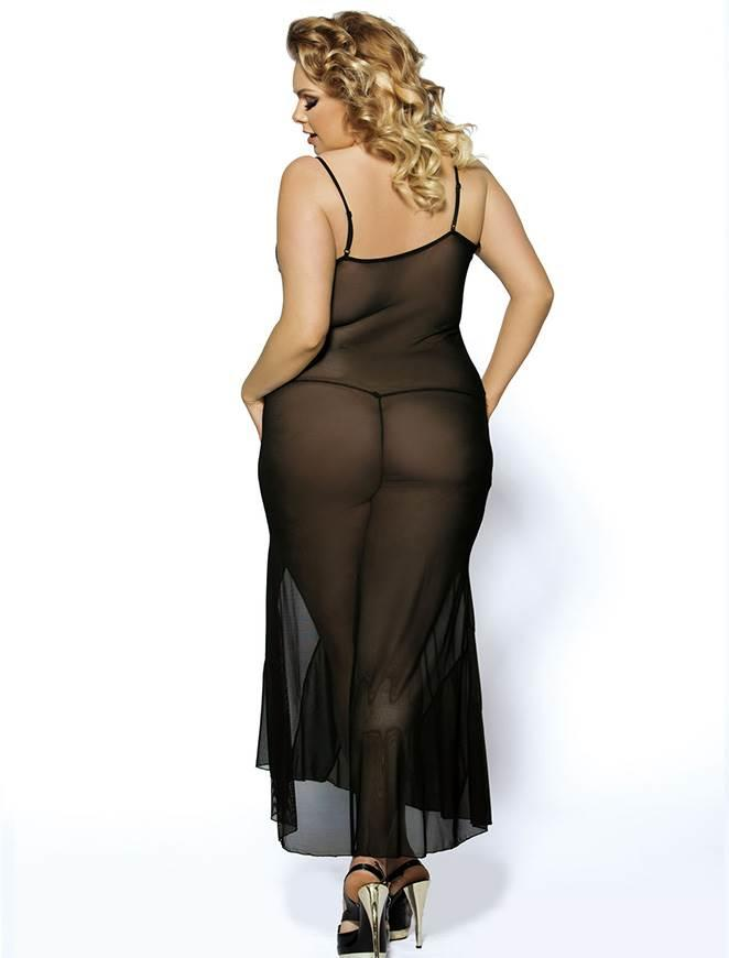 Soiree Long Black Nightgown rear view