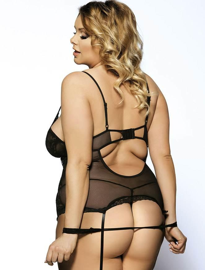 Black Lace Teddy rear view