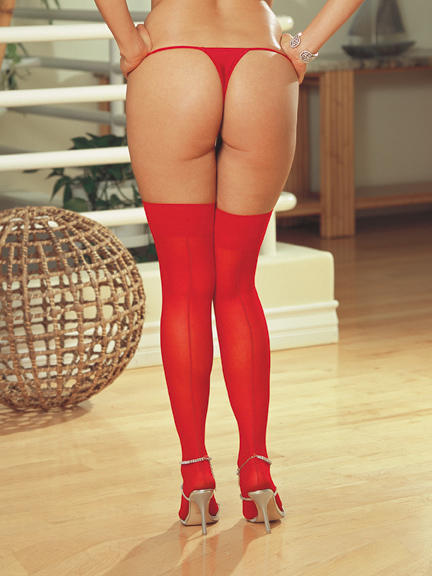 Red Sheer Stockings with back seam