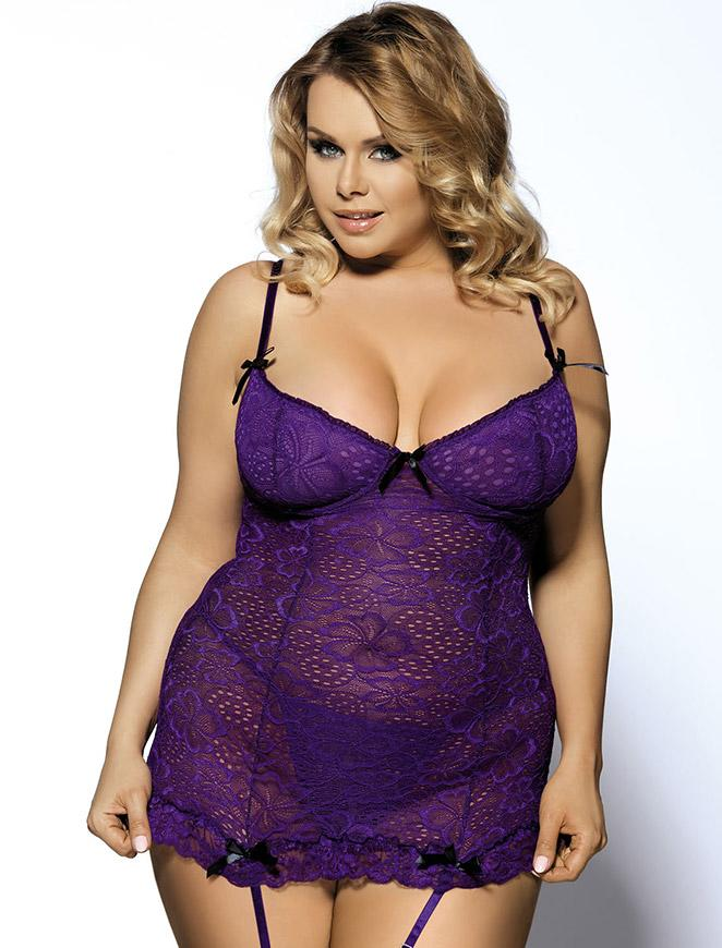 Purple Floral Lace Babydoll Set