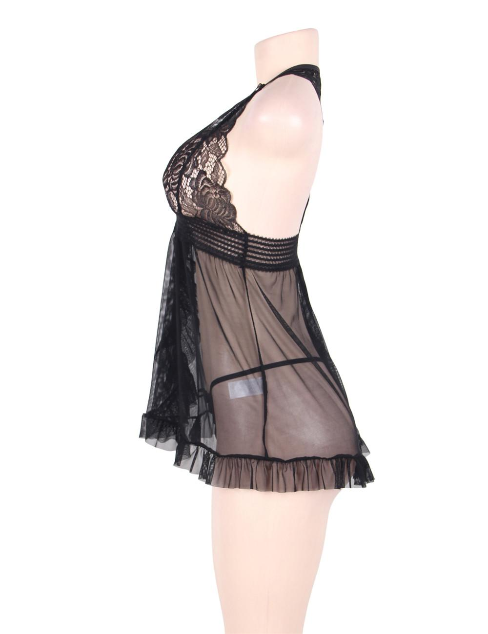 Black Open Front Babydoll Set side view