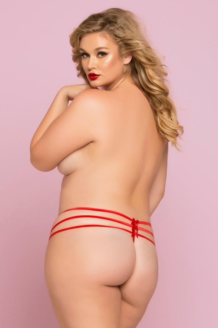 Red Strappy Lace Thong rear view
