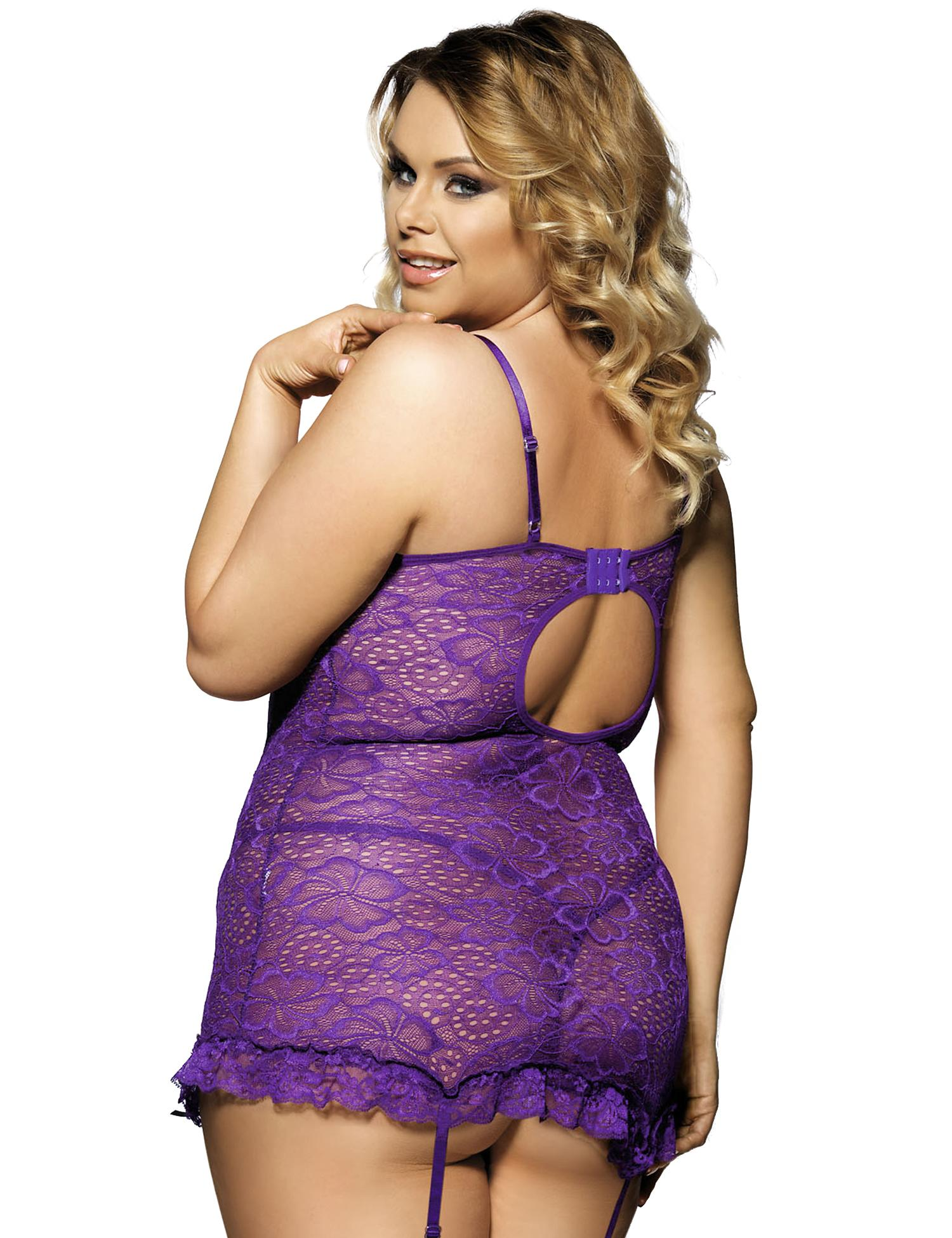 Purple Floral Lace Babydoll Set rear view