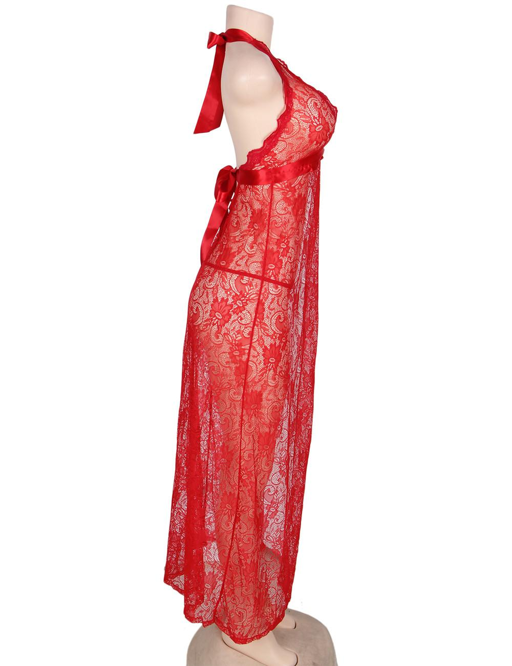 Backless Long Red Nightgown side view
