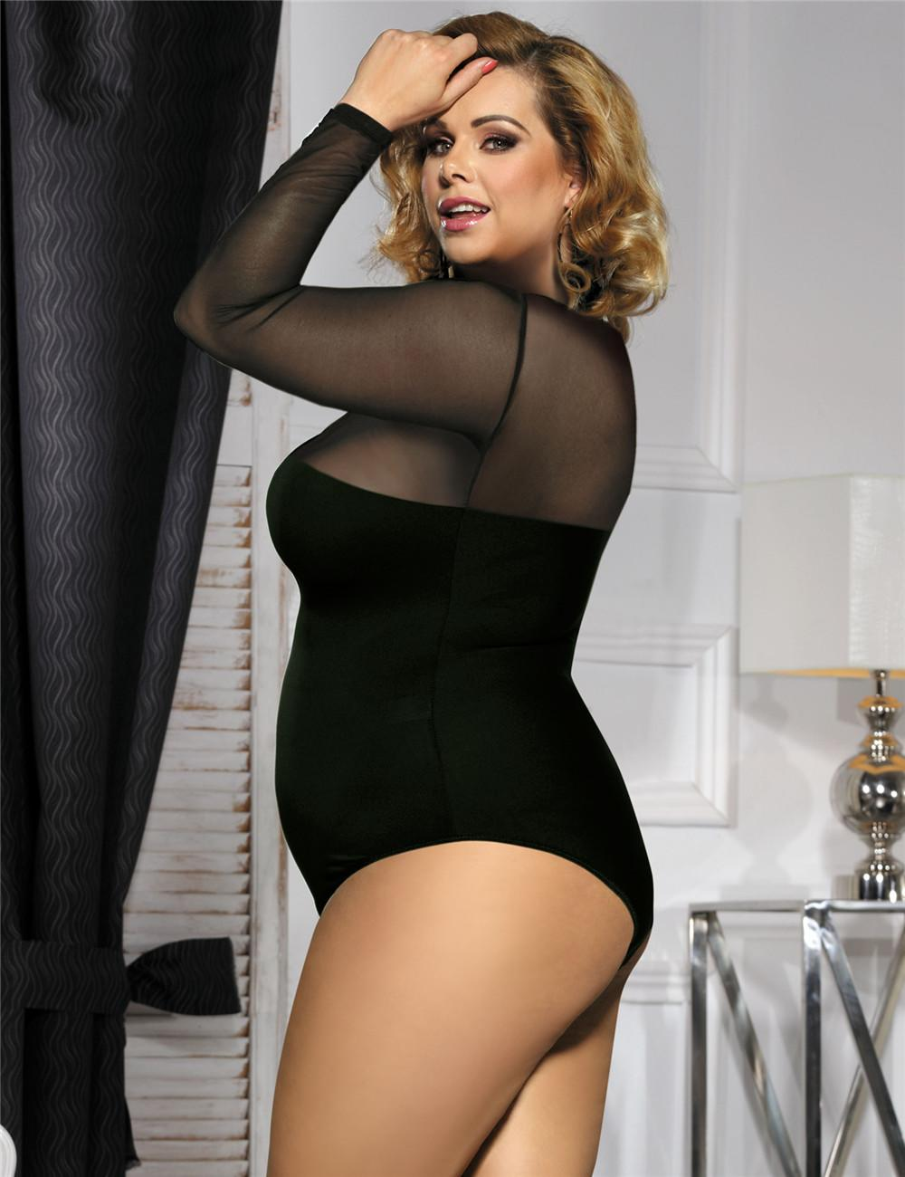 Sheer long sleeved teddy side view