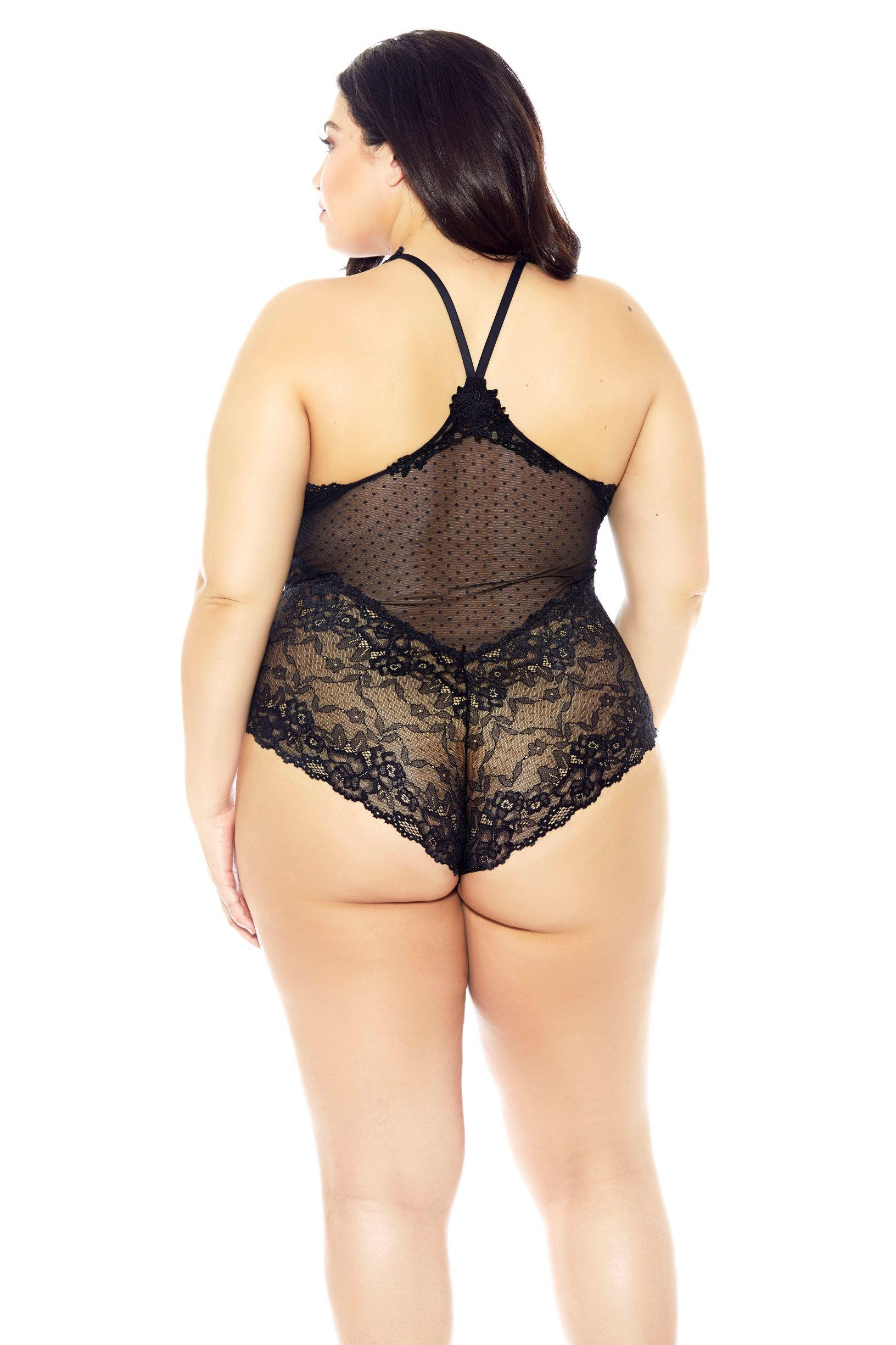 Black Lace Halterneck Teddy rear view