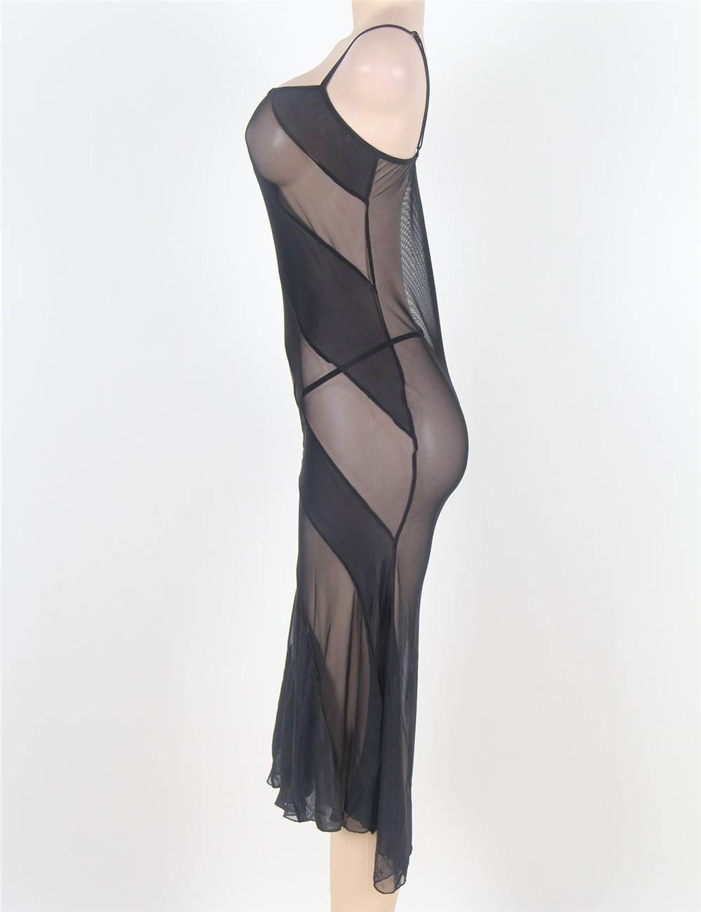 Soiree Long Black Nightgown side view