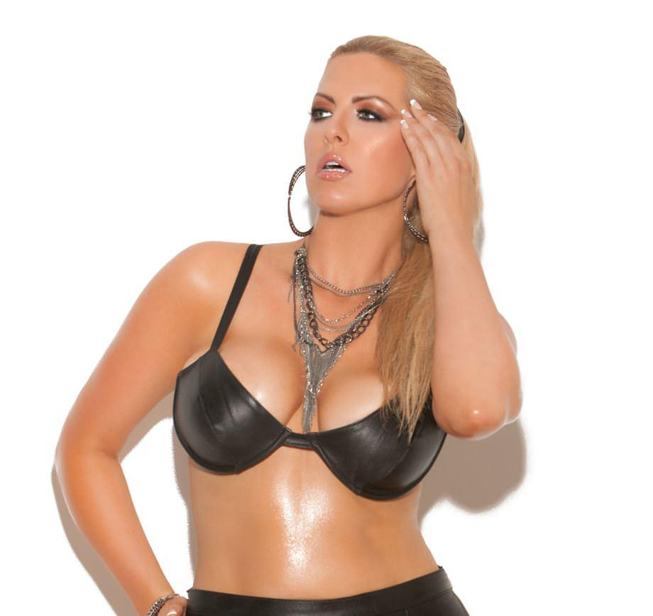 Black Leather Plus Size Bra