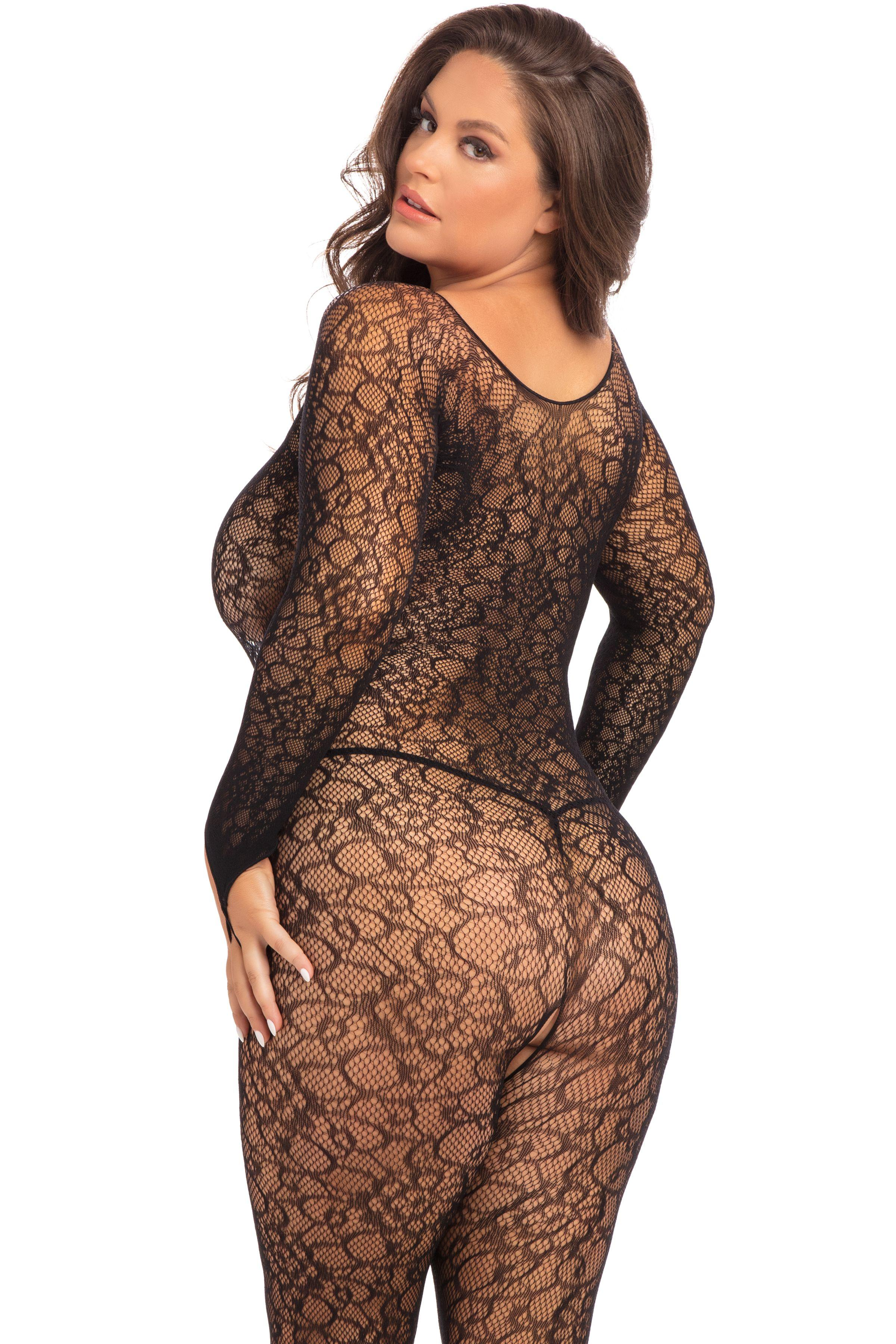 Crotchless Lace Bodystocking rear view