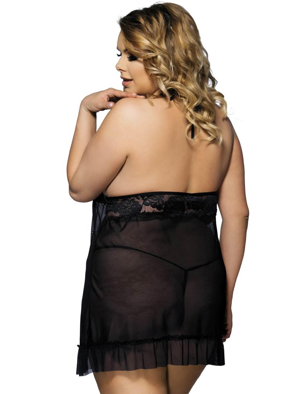 Black Halterneck Babydoll Set rear view
