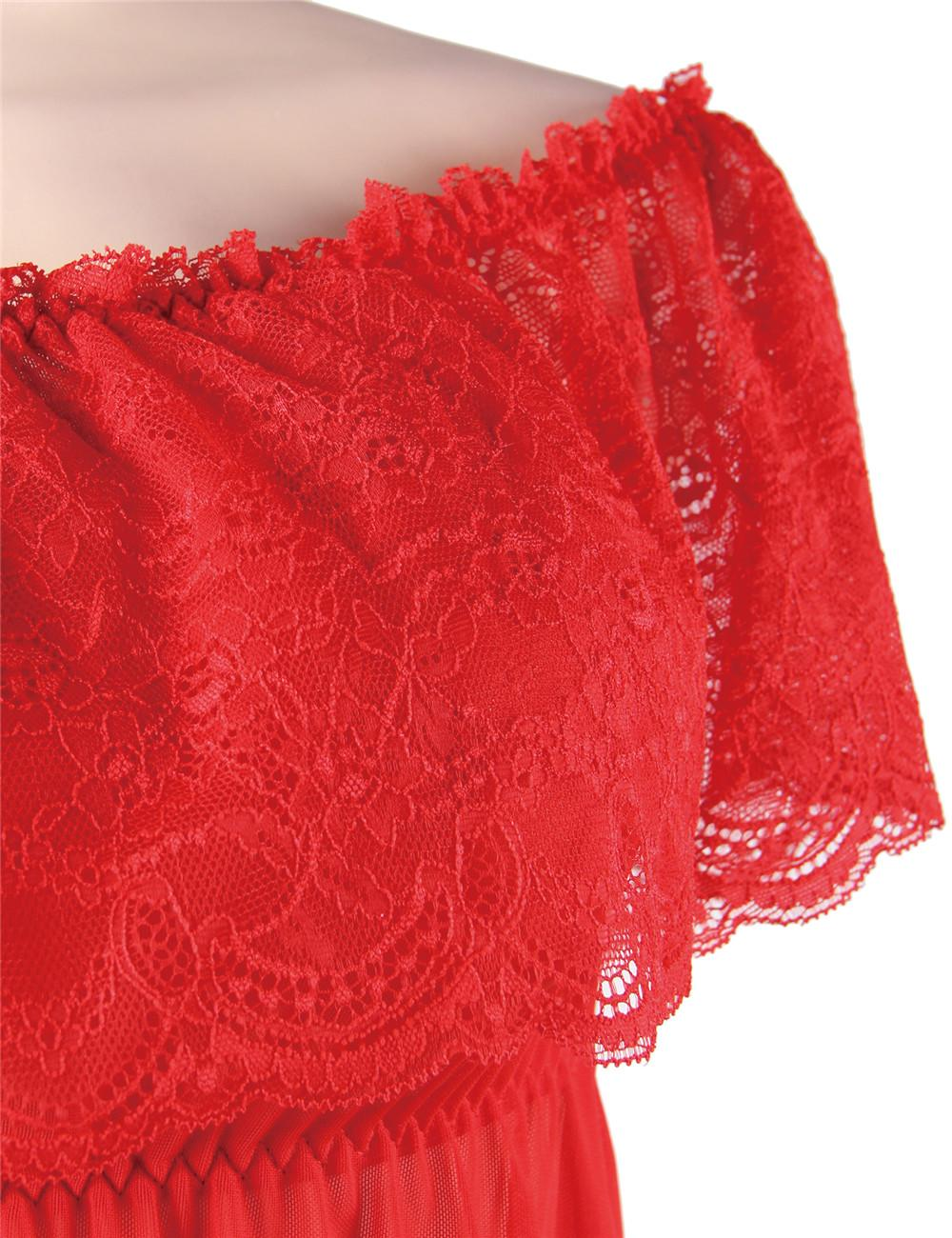 Red off the shoulder chemise detail
