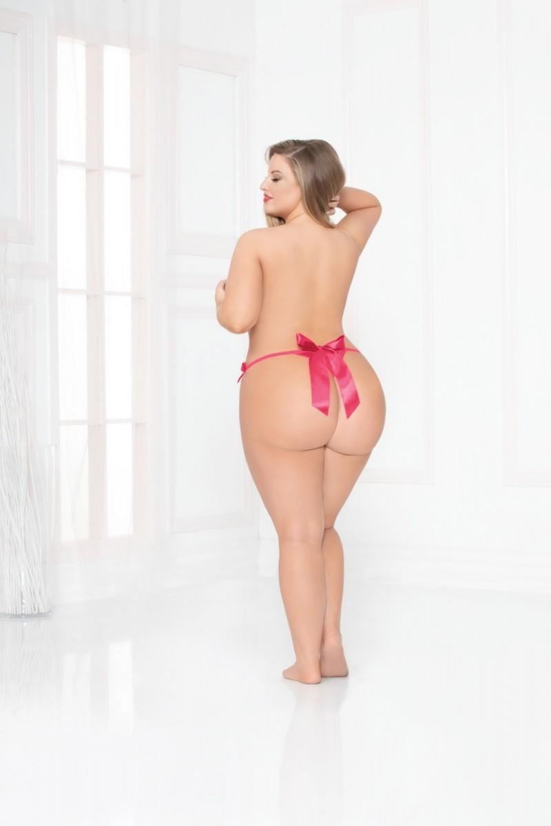 Hot Pink Open Crotch Thong rear view