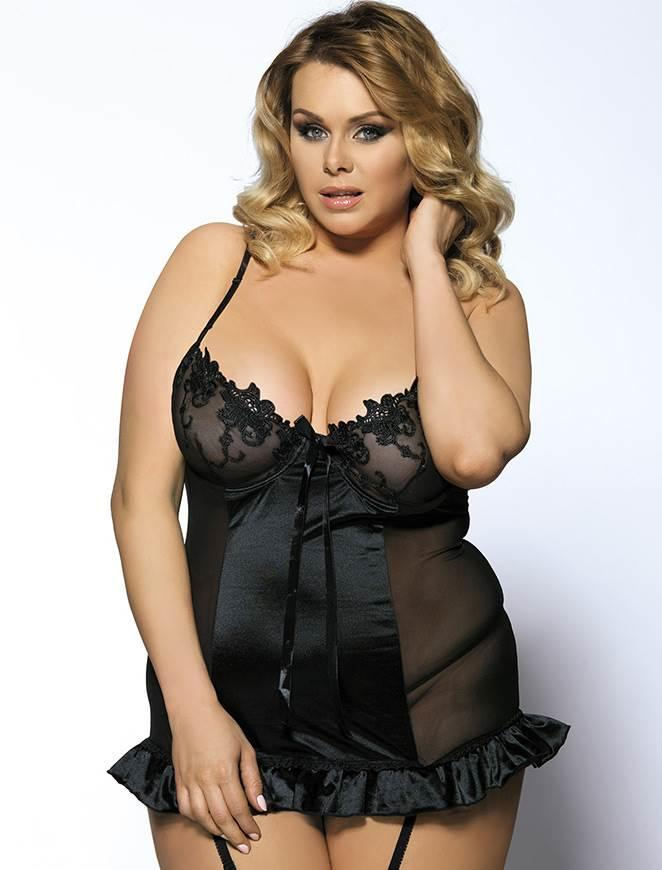 Black Plus Size Satin & Lace Babydoll