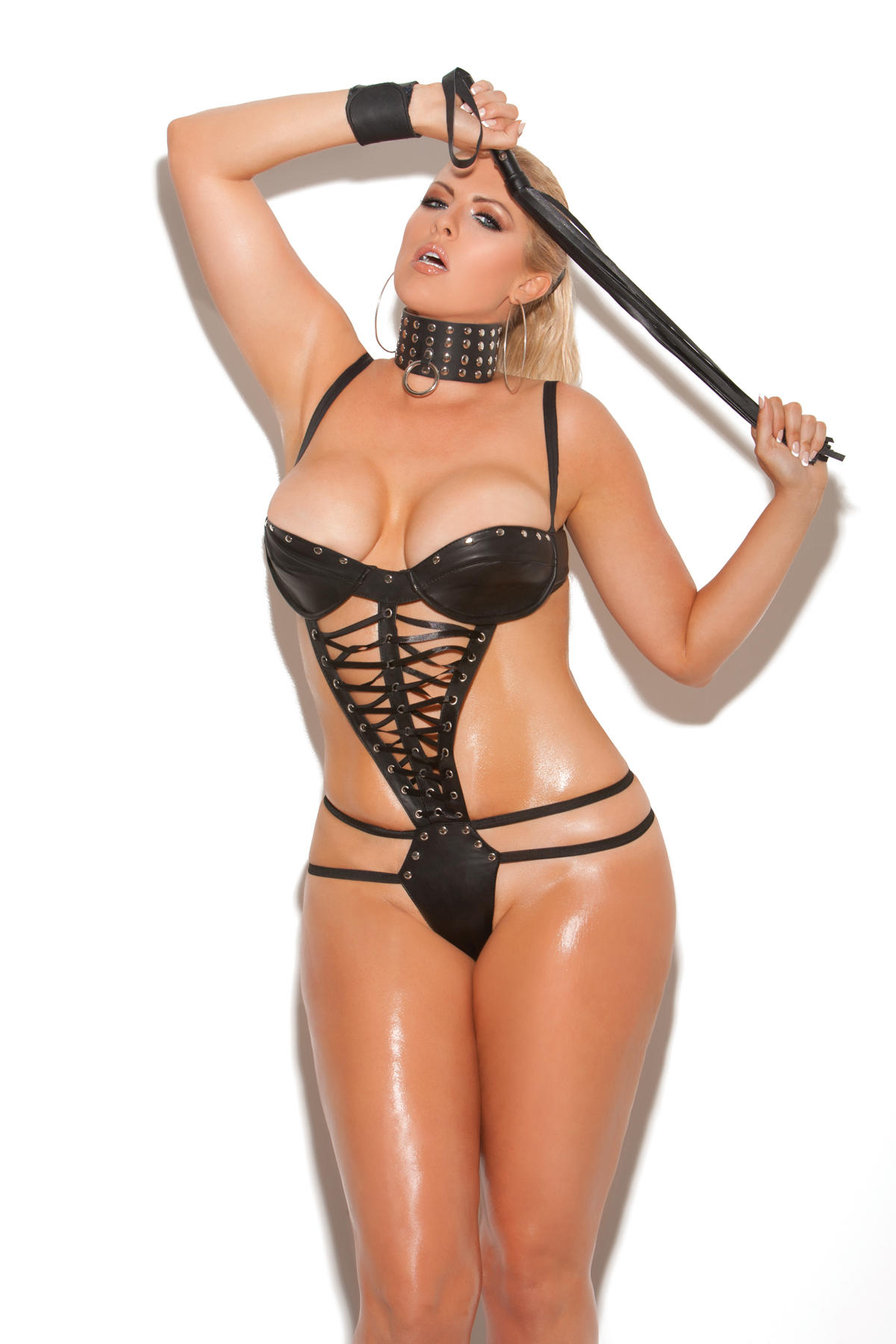 Lace Up Front Leather Teddy