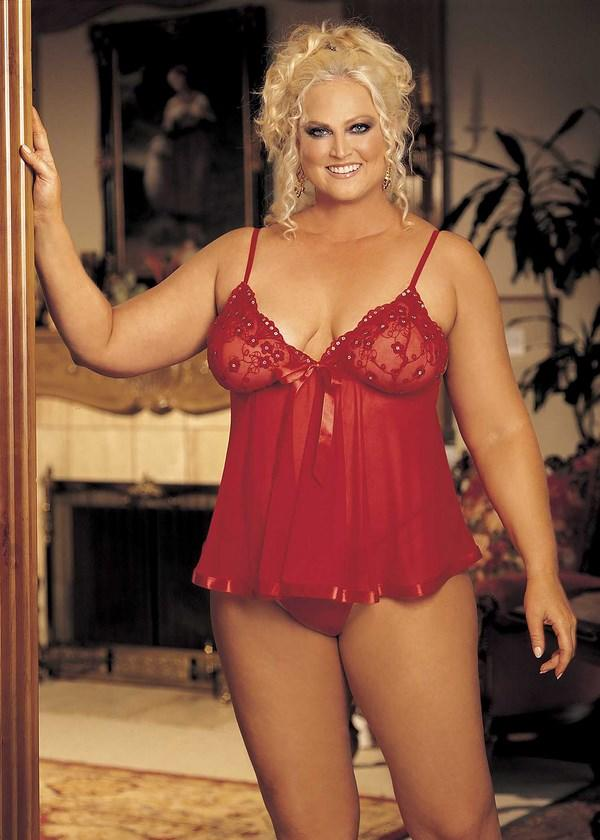 Red Sequinned Sheer Babydoll Set