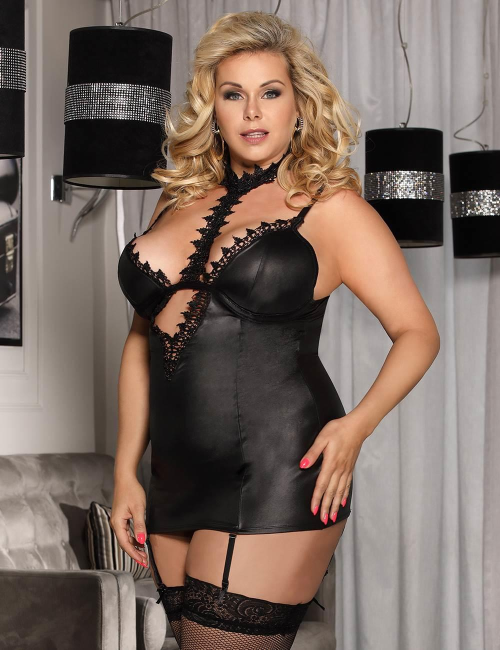 PVC Chemise With Choker in detail