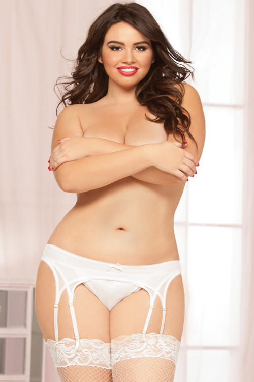 White Double Up Garter Belt